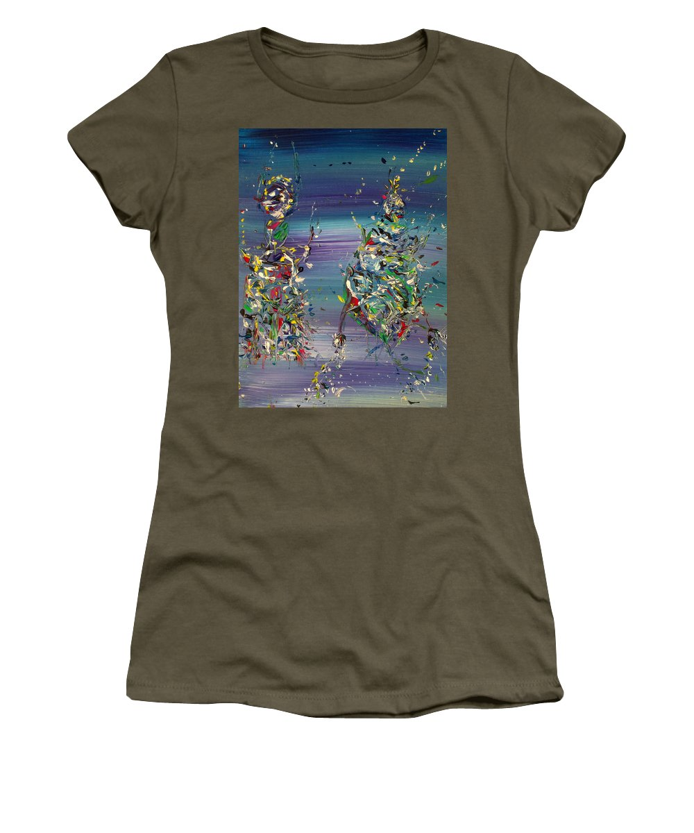 Abstract Women's T-Shirt (Athletic Fit) featuring the painting Improvisation #5 by Fabrizio Cassetta