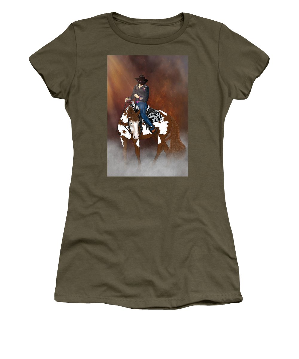 Horse Women's T-Shirt (Athletic Fit) featuring the digital art In A Western Town by Davandra Cribbie