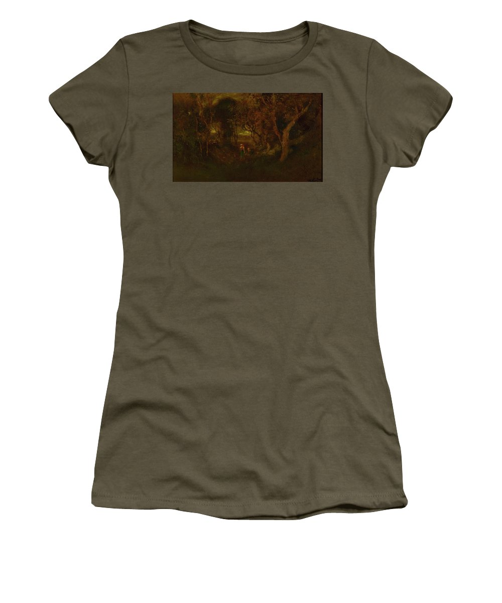 Attributed To William Keith 1839 - 1911 In A Wooded Glen Women's T-Shirt featuring the painting In A Wooded Glen by MotionAge Designs