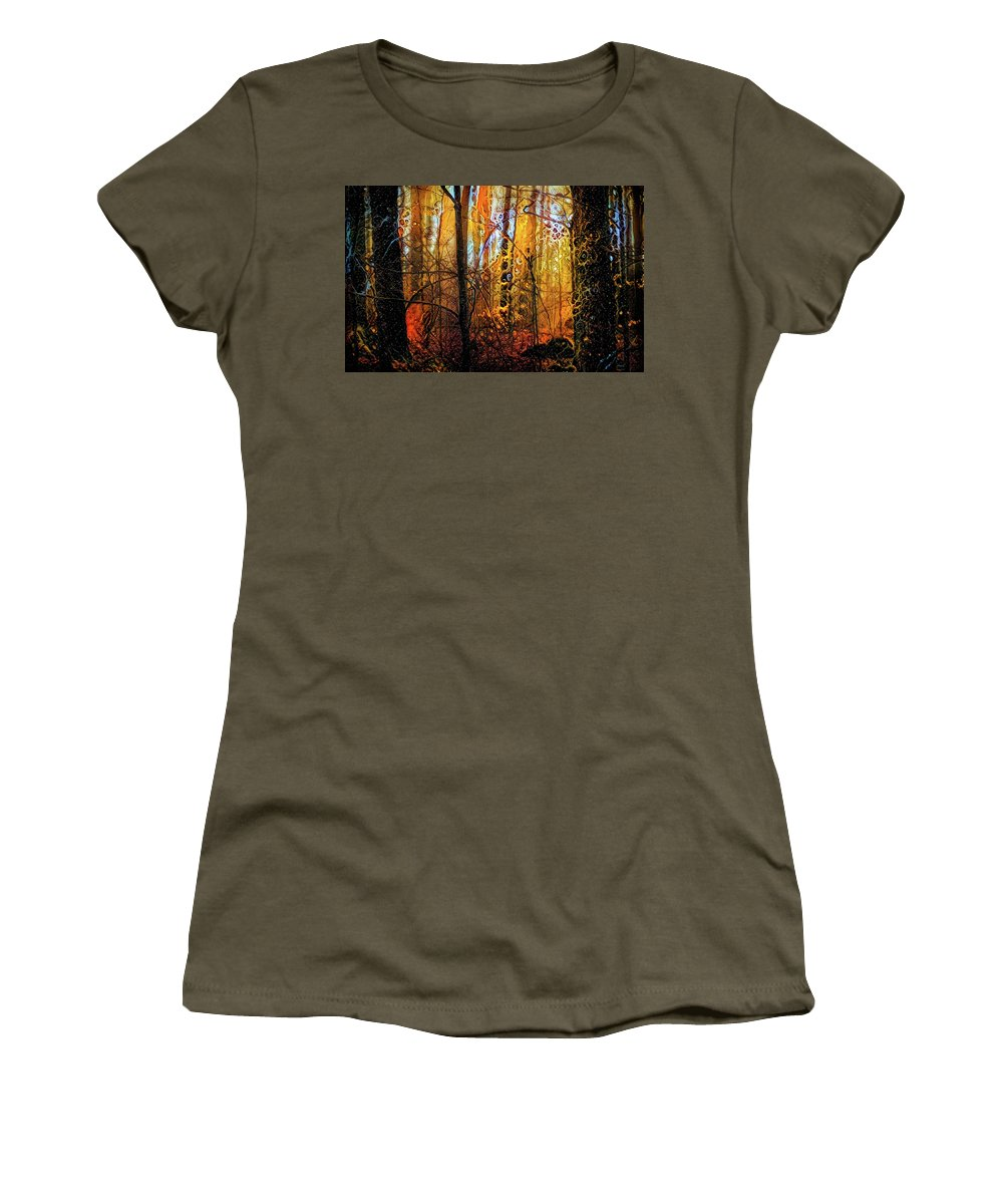 In Deep Woods Women's T-Shirt featuring the mixed media In Deep Woods by Lilia D