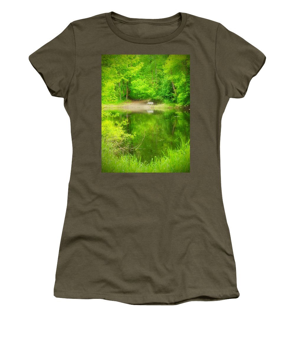 Bench Women's T-Shirt featuring the photograph In The Green by Tara Turner