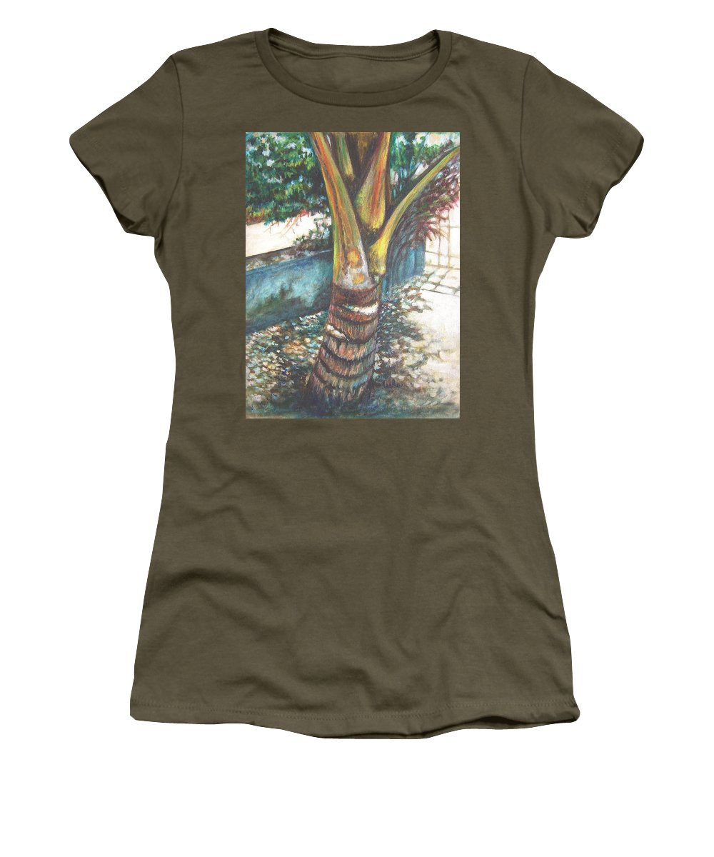 Shade Women's T-Shirt featuring the painting In The Shade by Usha Shantharam