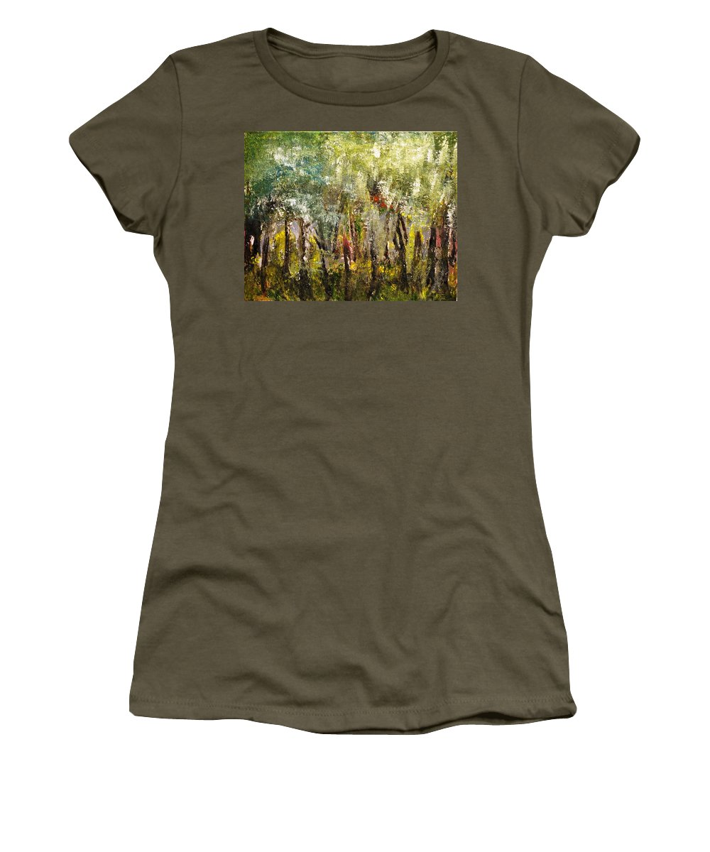 Trees Women's T-Shirt featuring the painting In The Woods by Evelina Popilian