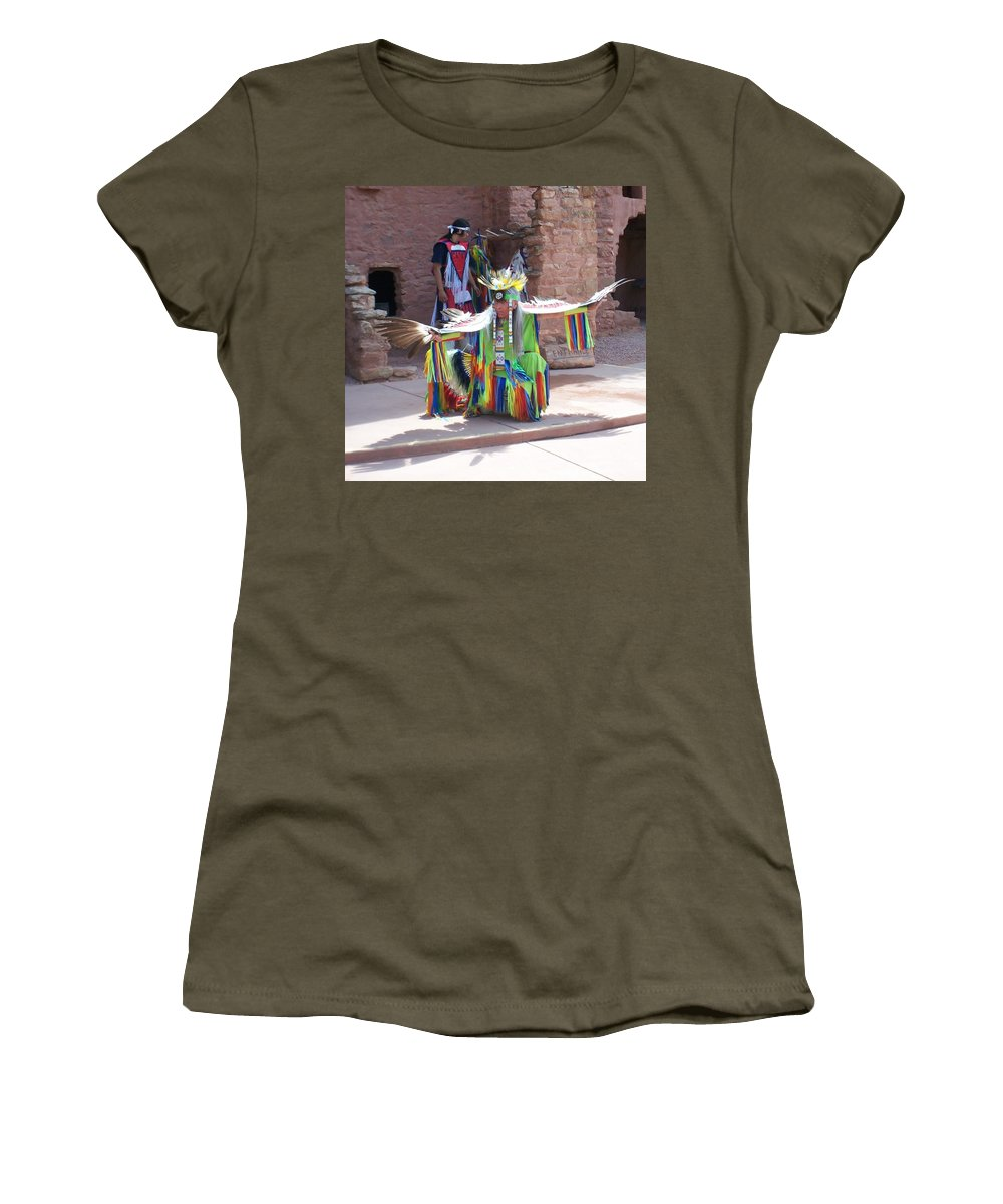 Indian Dancer Women's T-Shirt (Athletic Fit) featuring the photograph Indian Dancer by Anita Burgermeister