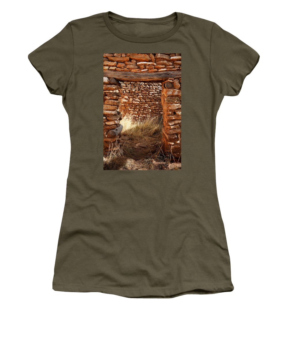 New Mexico Women's T-Shirt (Athletic Fit) featuring the photograph Indian Ruins Doorway by Matt Suess