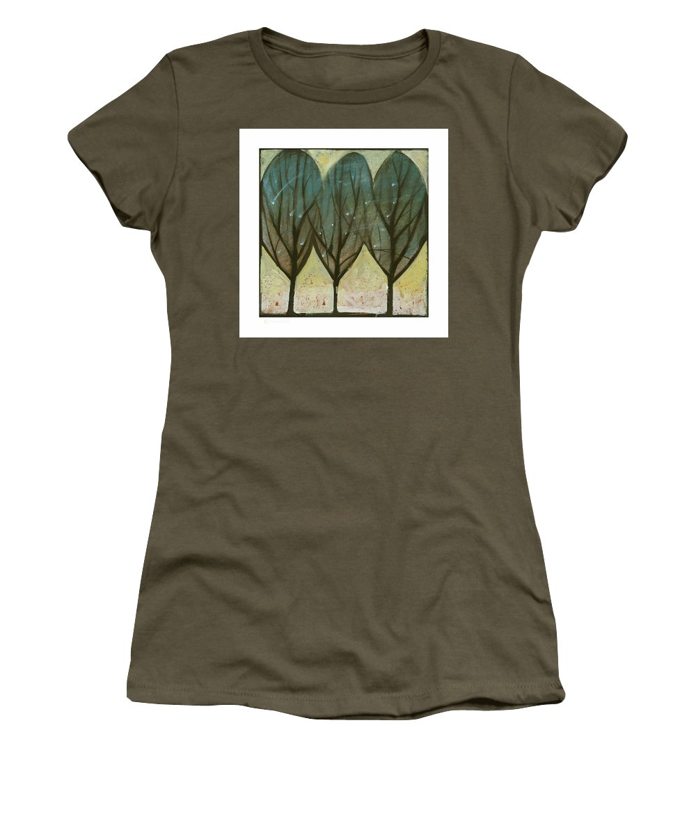 Trees Women's T-Shirt (Athletic Fit) featuring the painting Indian Summer Snow by Tim Nyberg