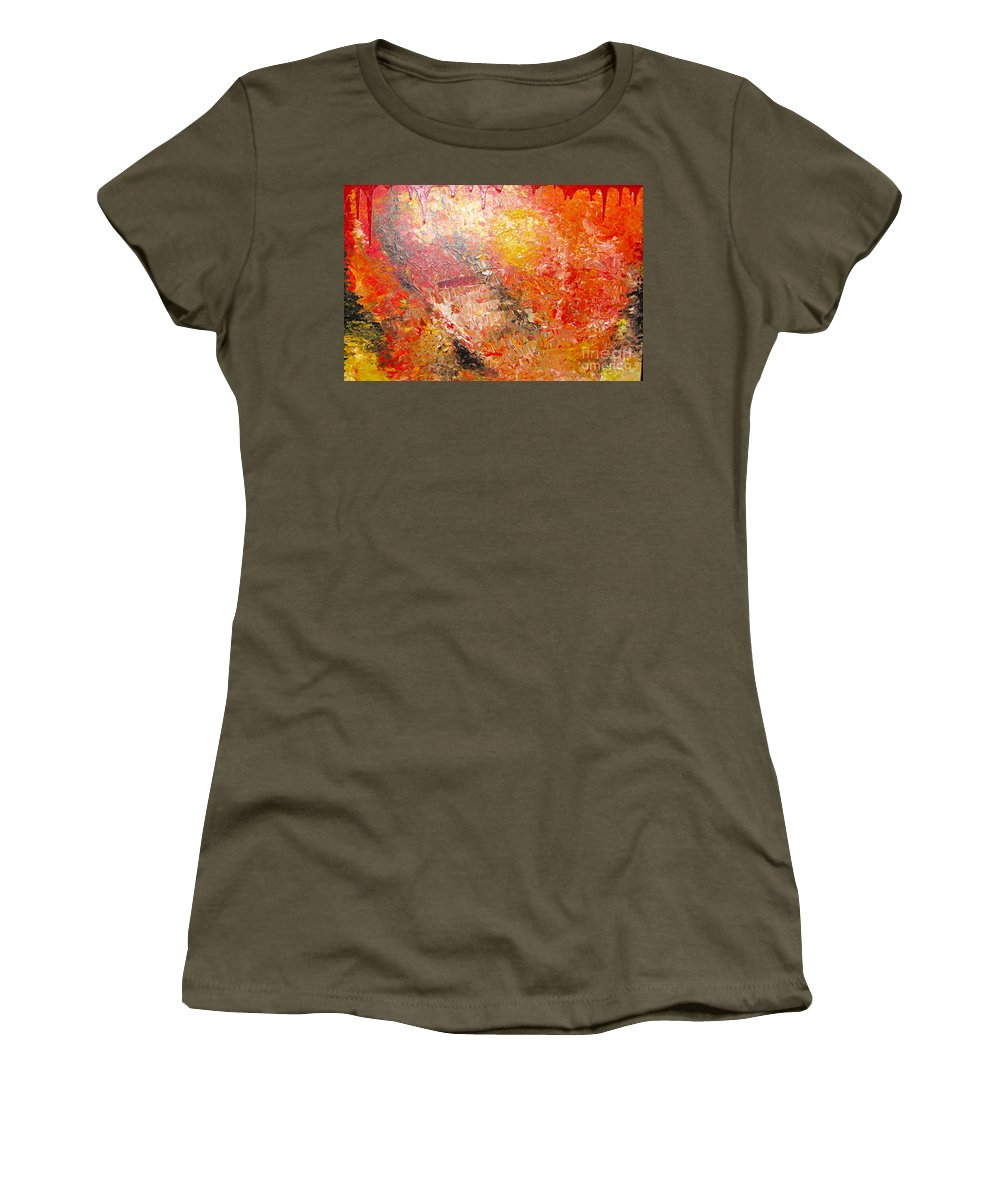 Red Women's T-Shirt (Athletic Fit) featuring the painting Inferno by Jacqueline Athmann