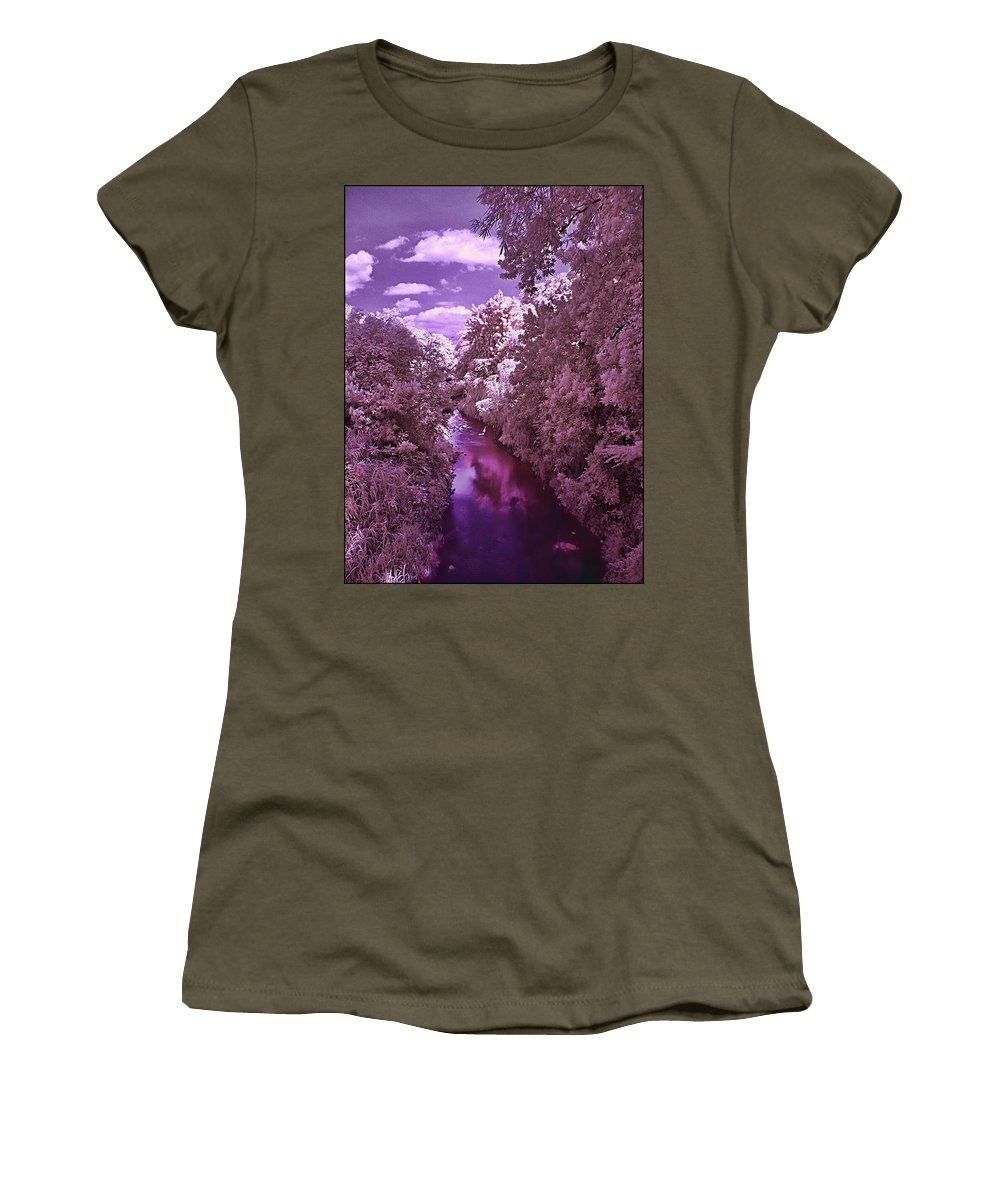 River Trees Wather Sky Clouds Infrared Magenta Blue White River Trees Wather Sky Clouds Infrared Magenta Blue White Framed Prints Women's T-Shirt (Athletic Fit) featuring the photograph Infrared River by Galeria Trompiz