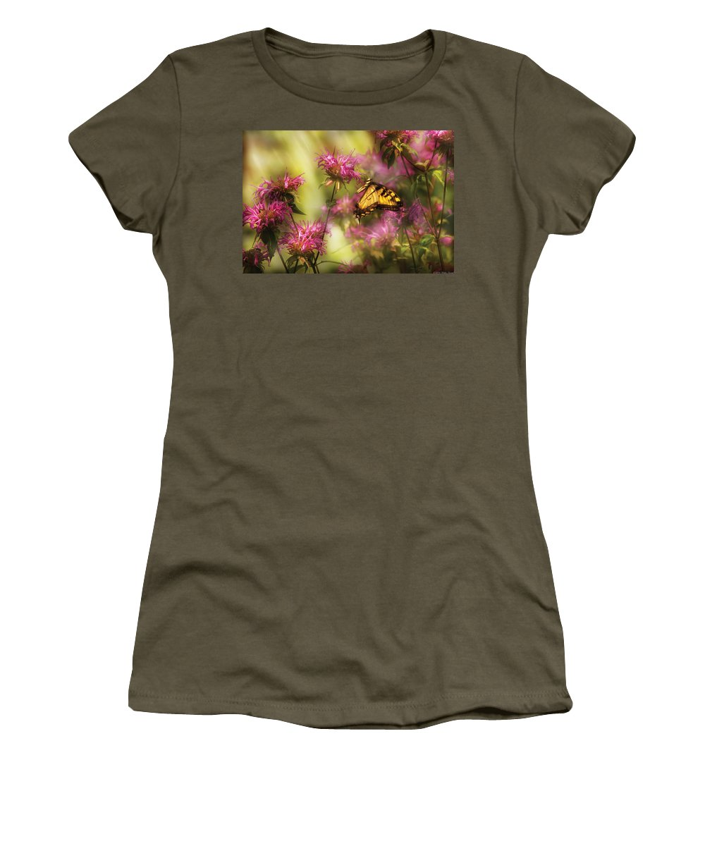 Savad Women's T-Shirt featuring the photograph Insect - Butterfly - Golden Age by Mike Savad
