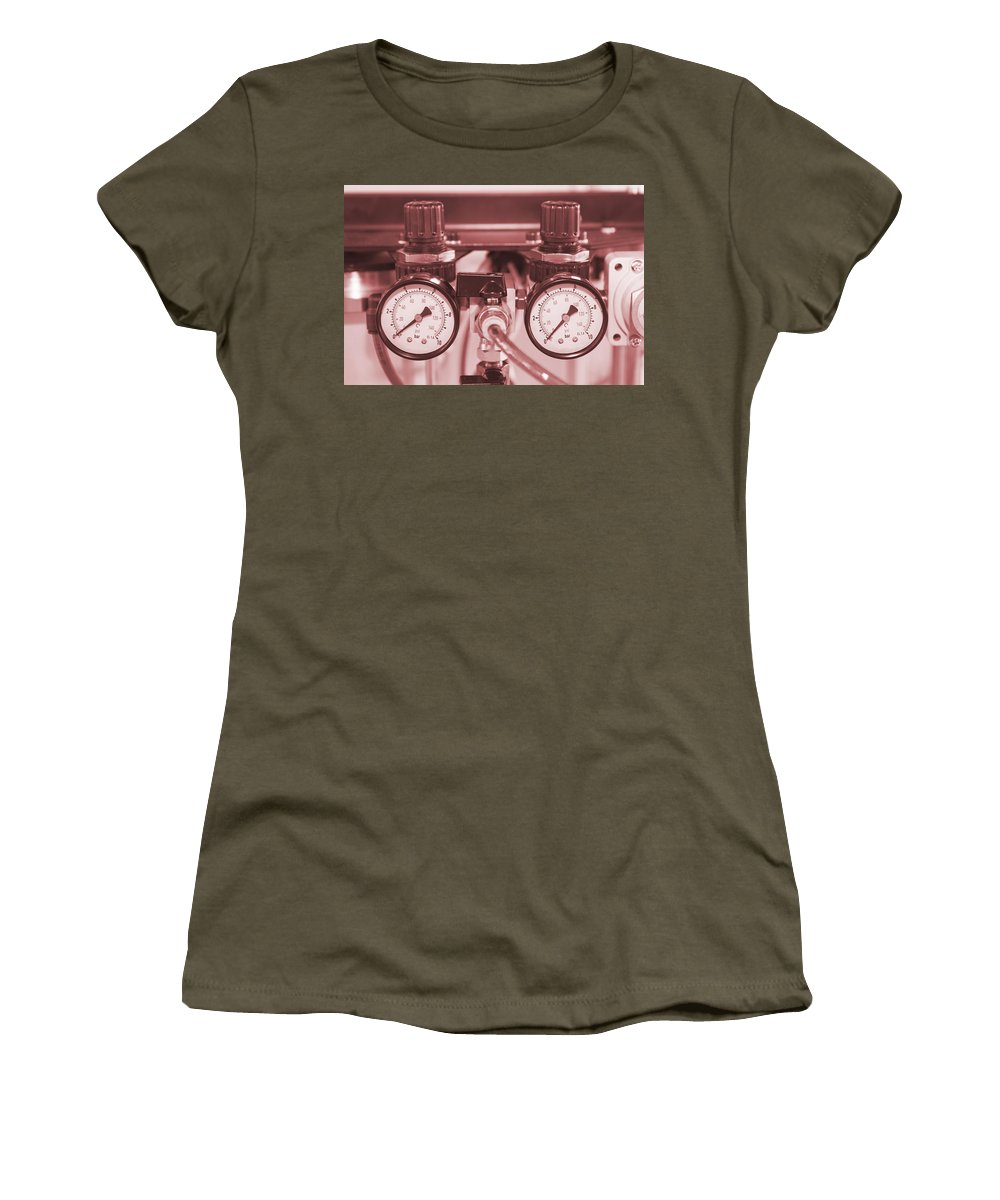 Interior Women's T-Shirt featuring the photograph Instruments For Measuring Pressure In Red Hue by Jaroslav Frank