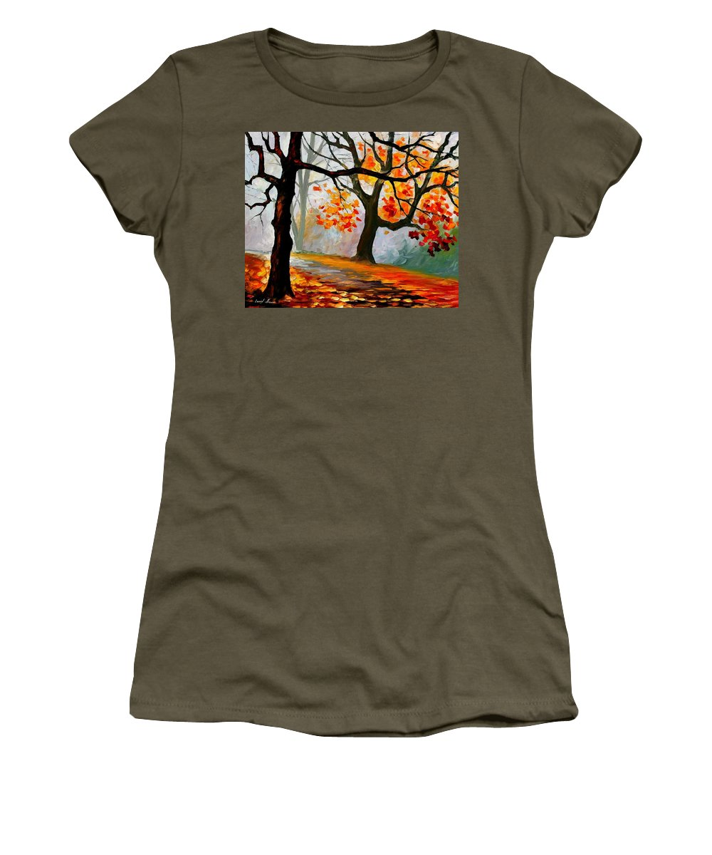 Landscape Women's T-Shirt (Athletic Fit) featuring the painting Interplacement by Leonid Afremov