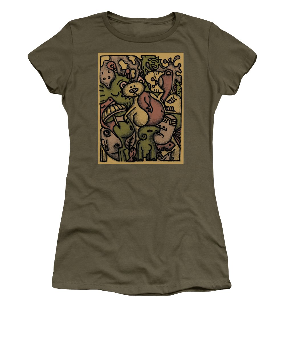 Kaki Women's T-Shirt (Athletic Fit) featuring the digital art Interwhining1 by Kelly Jade King