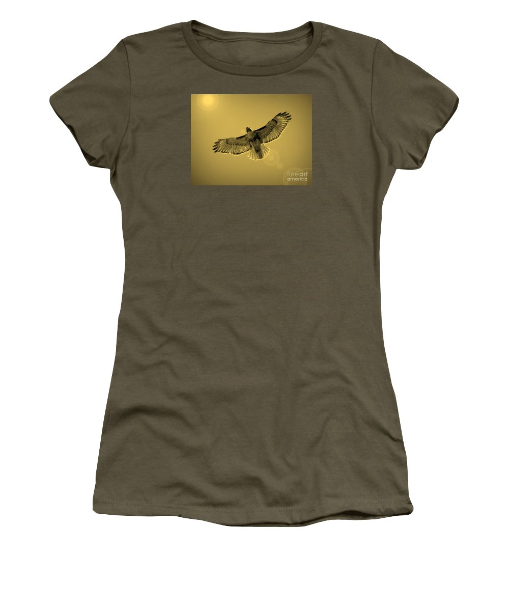 Red-shouldered Hawk Women's T-Shirt featuring the photograph Into The Light - Sepia by Carol Groenen