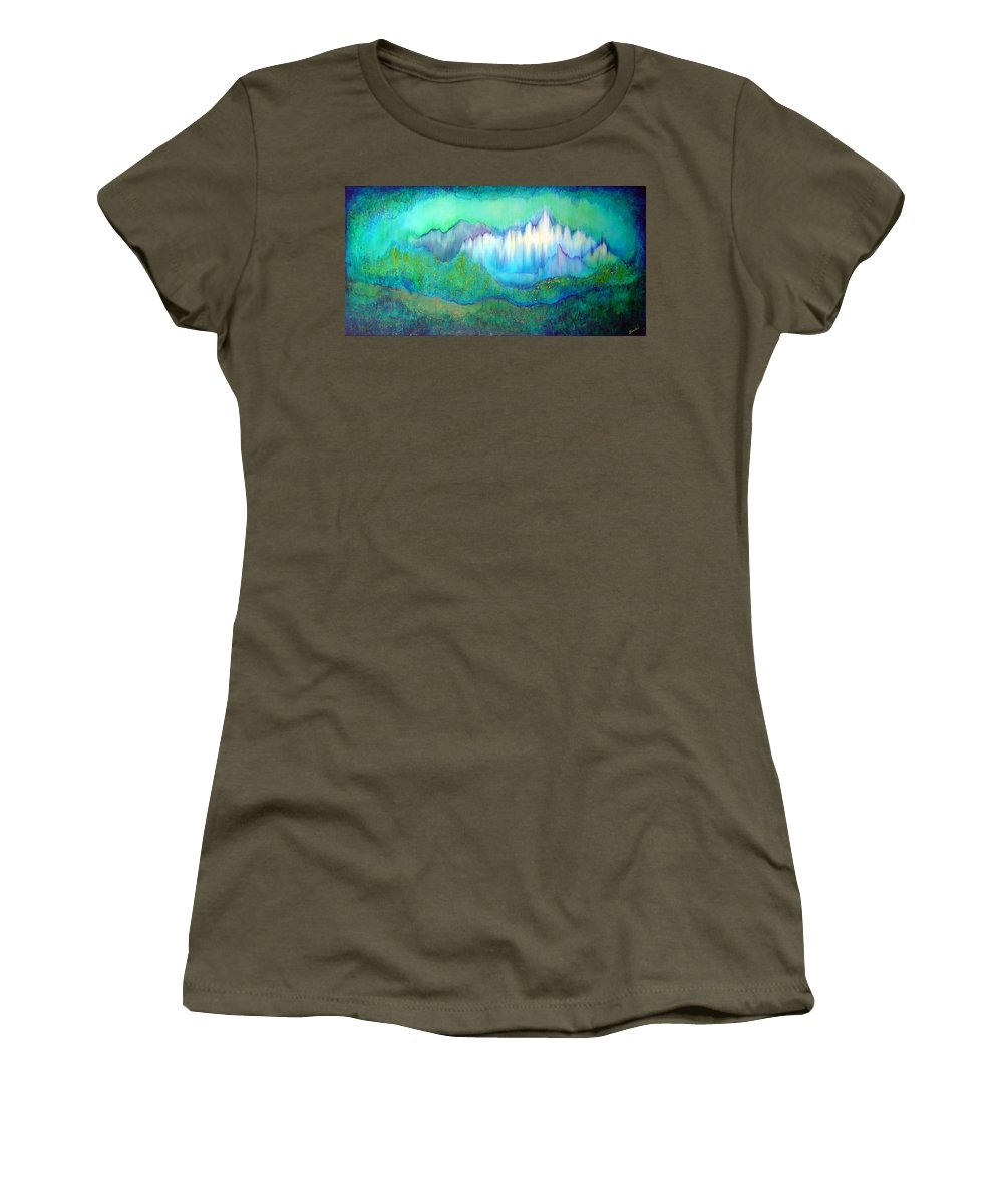 Blue Women's T-Shirt featuring the painting Into The Ocean by Shadia Derbyshire