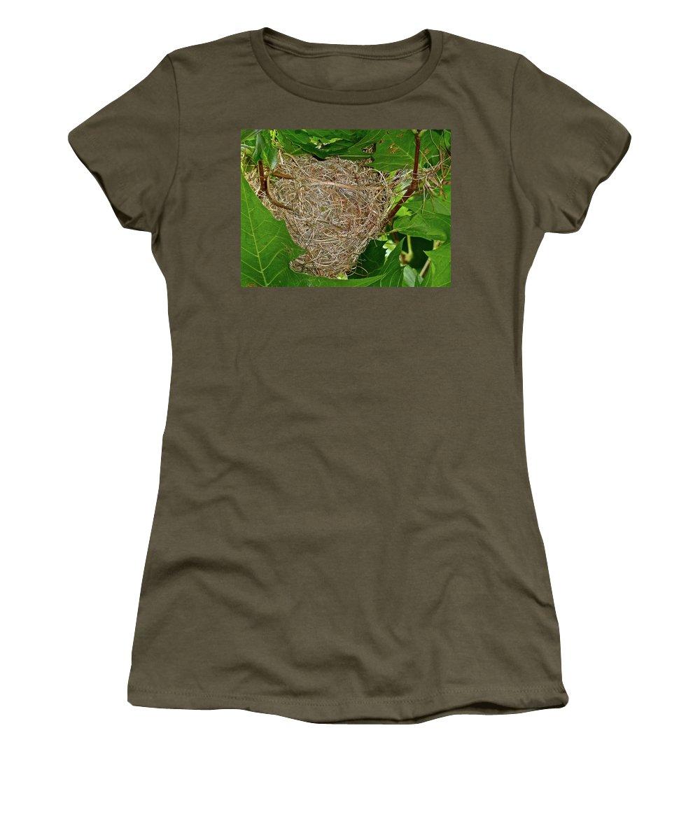 Birds Women's T-Shirt featuring the photograph Intricate Nest by Diana Hatcher