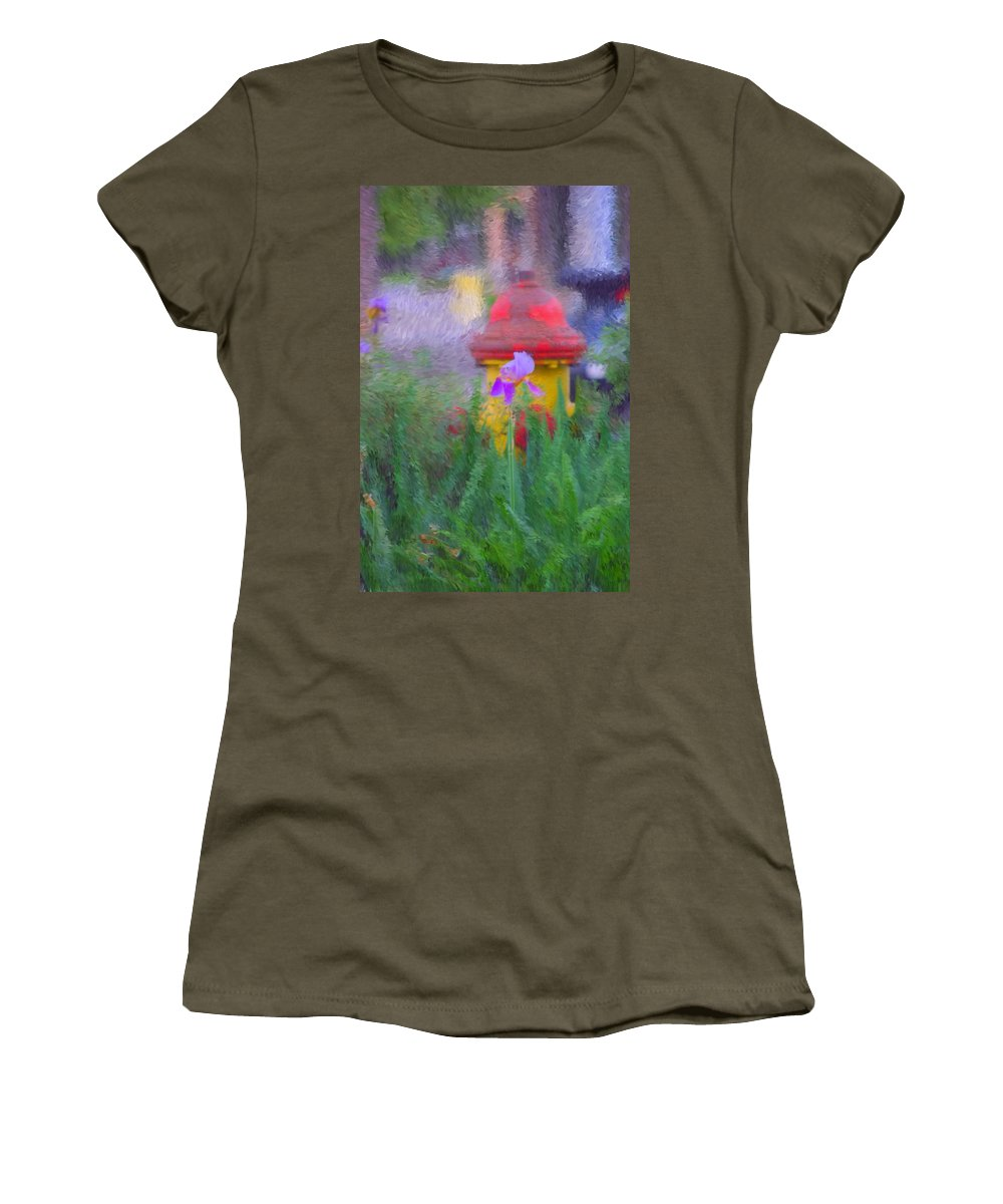 Digital Photo Women's T-Shirt (Athletic Fit) featuring the photograph Iris And Fire Plug by David Lane