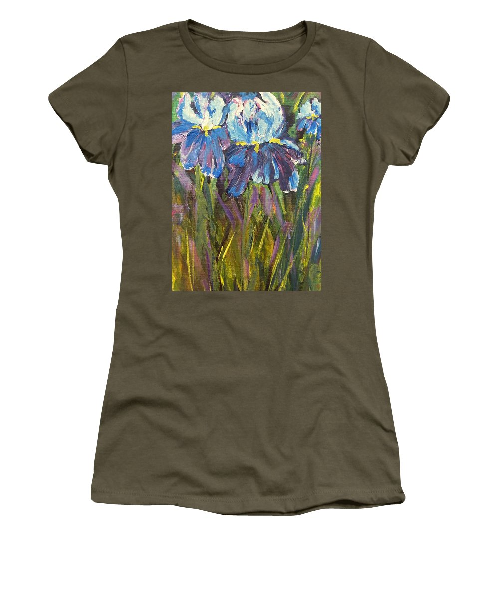 Iris Women's T-Shirt featuring the painting Iris Floral Garden by Claire Bull