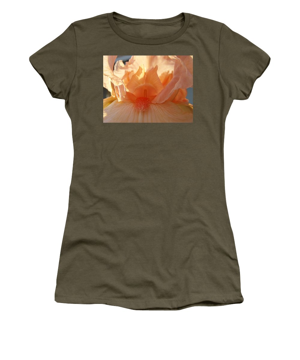 Iris Women's T-Shirt featuring the photograph Iris Flower Art Prints Sunlit Orange Irises Baslee Troutman by Baslee Troutman