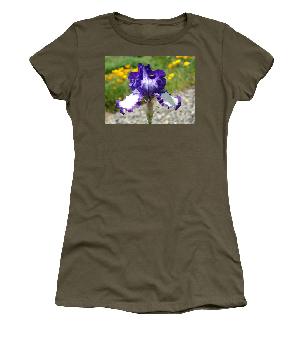 �irises Artwork� Women's T-Shirt (Athletic Fit) featuring the photograph Iris Flower Purple White Irises Nature Landscape Giclee Art Prints Baslee Troutman by Baslee Troutman