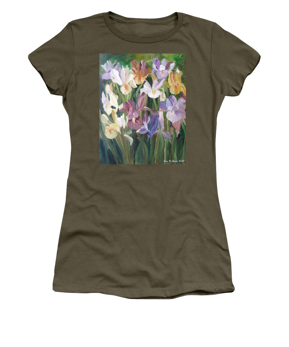 Irises Women's T-Shirt featuring the painting Irises by Gina De Gorna