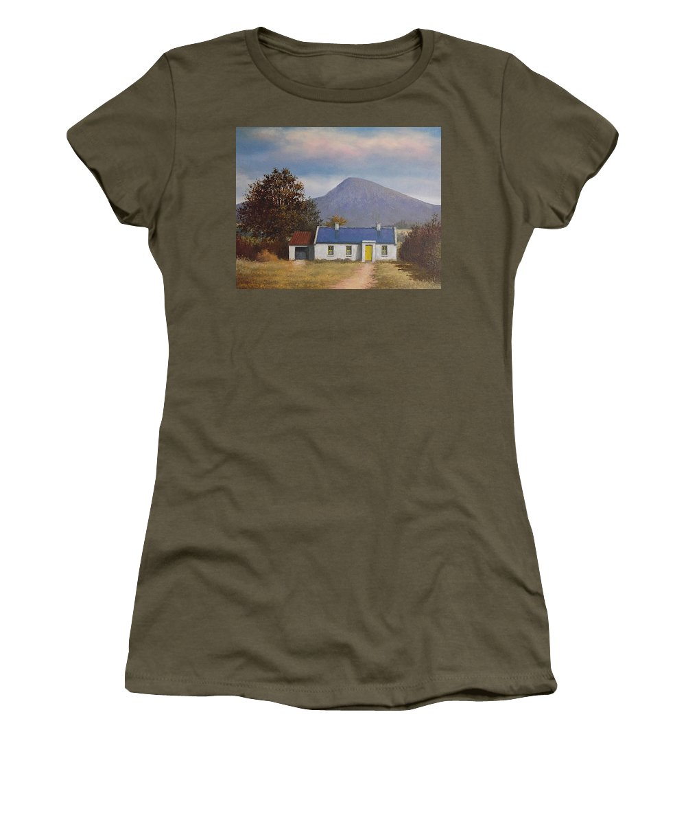 Irish Women's T-Shirt featuring the painting Irish Farmhouse Near Croagh Patrick by Sean Conlon