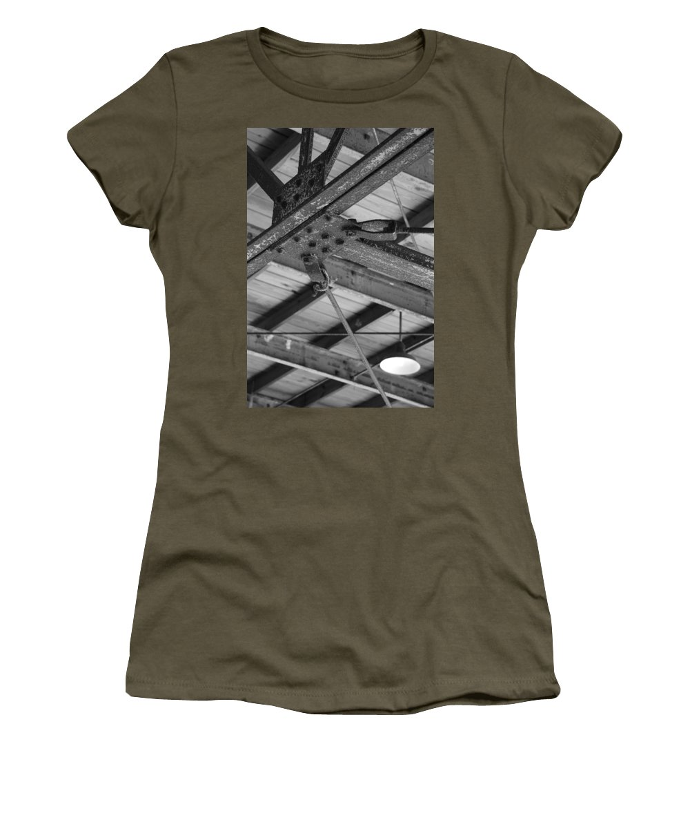 Black And White Women's T-Shirt featuring the photograph Iron Roof by Rob Hans