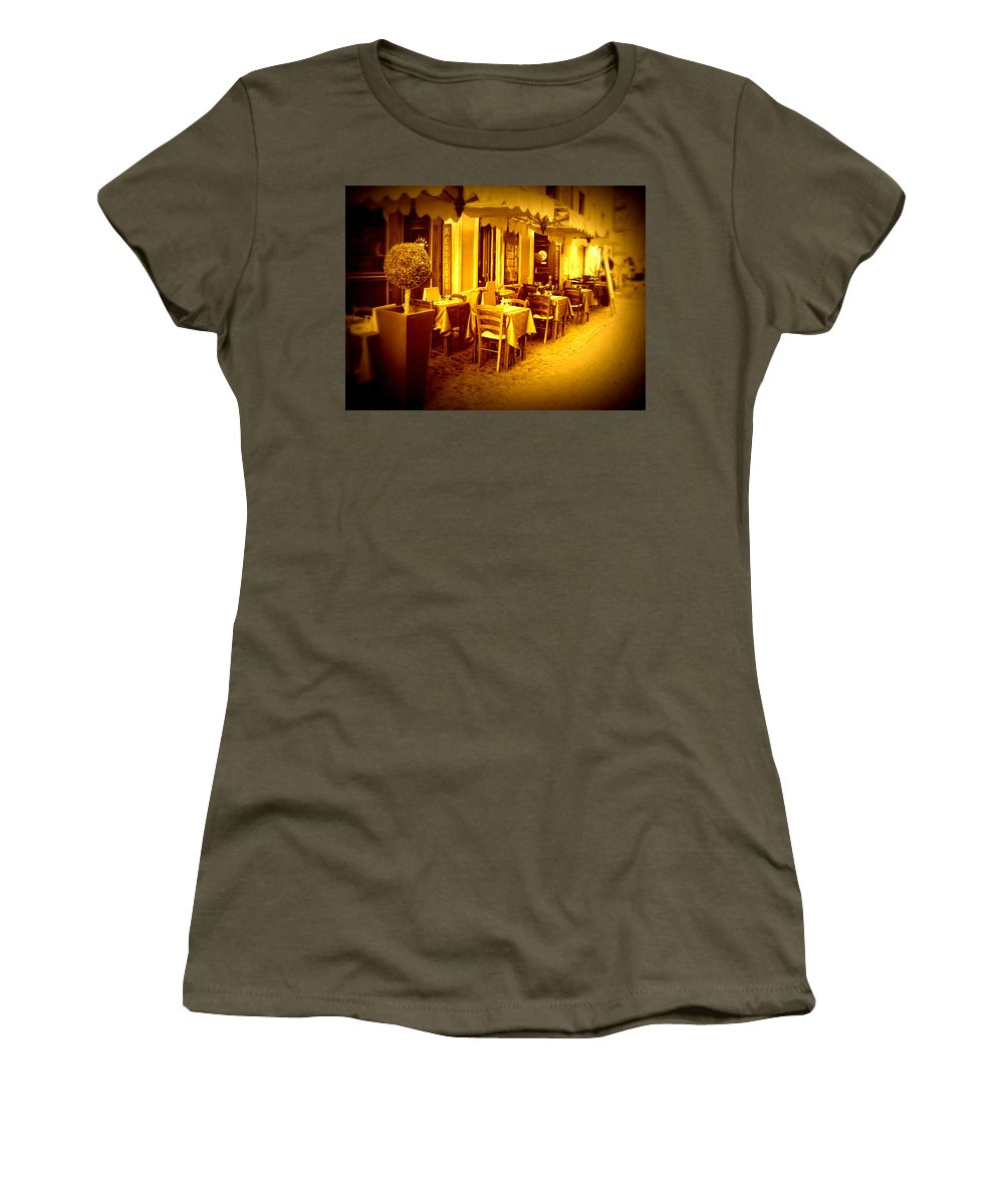 Italy Women's T-Shirt featuring the photograph Italian Cafe In Golden Sepia by Carol Groenen