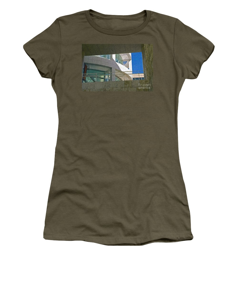 J. Paul Getty Museum Los Angeles Ca Administration Building Abstract View Women's T-Shirt (Athletic Fit) featuring the photograph J. Paul Getty Museum Abstract View by David Zanzinger