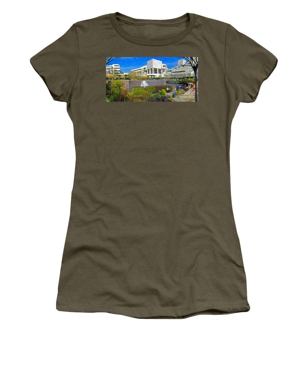 J Paul Getty Women's T-Shirt featuring the photograph J. Paul Getty Museum Central Garden Panorama by David Zanzinger