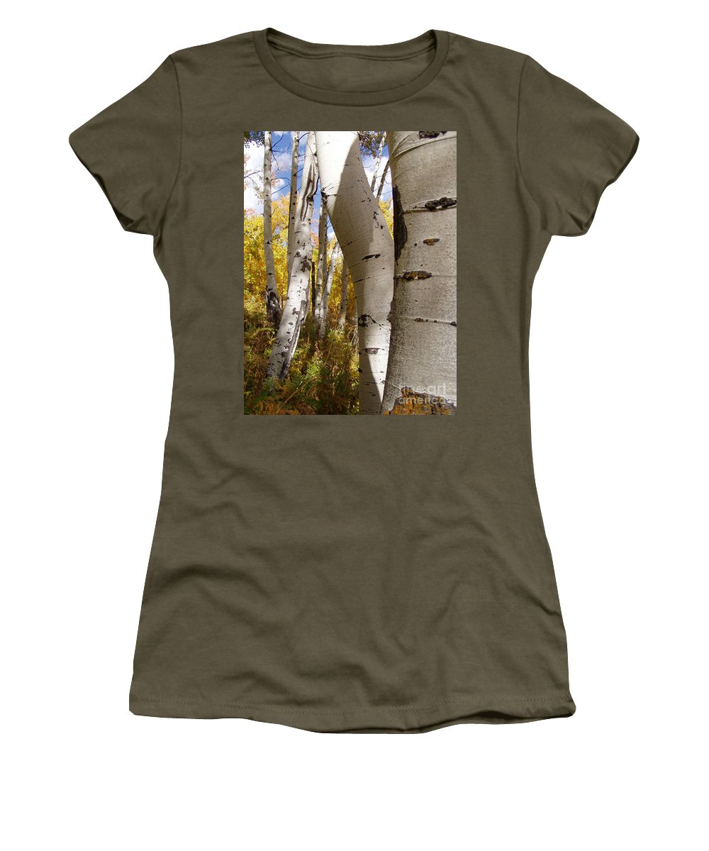 Trees Women's T-Shirt (Athletic Fit) featuring the photograph Jackson Hole Wyoming by Amanda Barcon