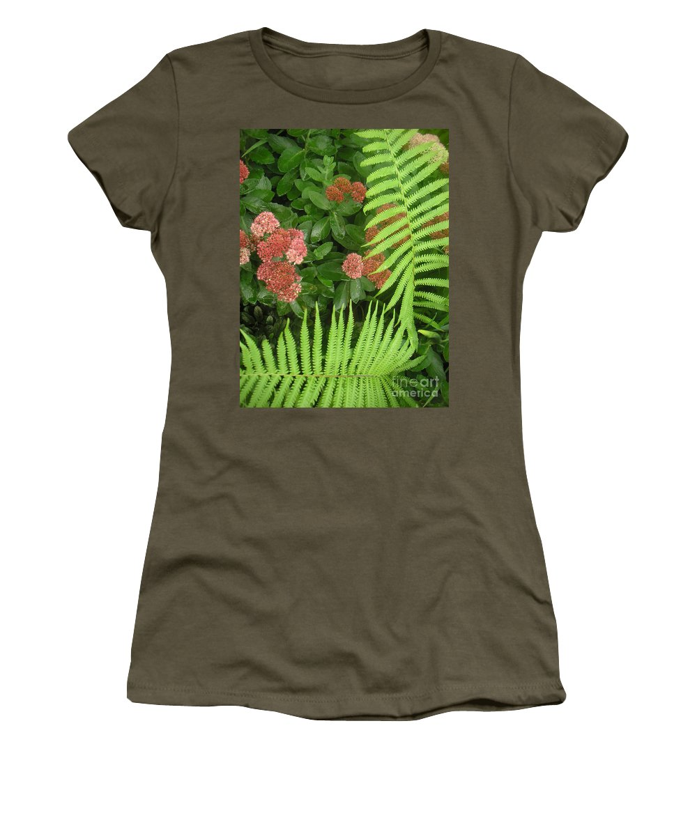 Nature Women's T-Shirt (Athletic Fit) featuring the photograph Jacqueline's Garden - Camaraderie Of Textures Too by Lucyna A M Green