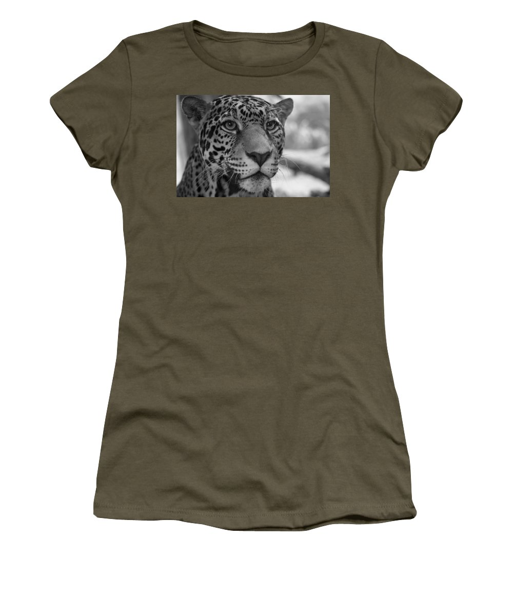 Jaguar Women's T-Shirt (Athletic Fit) featuring the photograph Jaguar In Black And White by Sandy Keeton