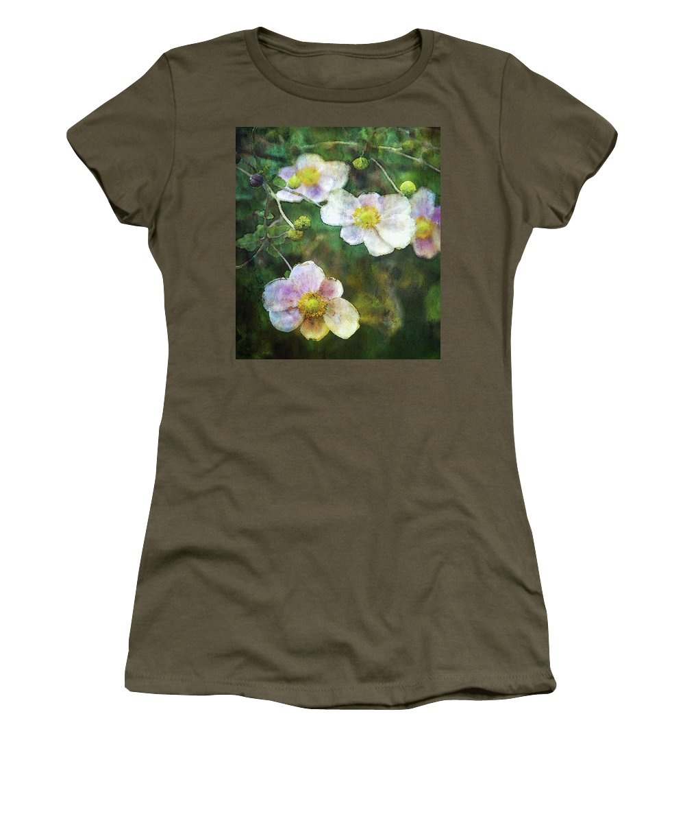 Japanese Anemone Women's T-Shirt featuring the photograph Japanese Anemone 4781 Idp_2 by Steven Ward