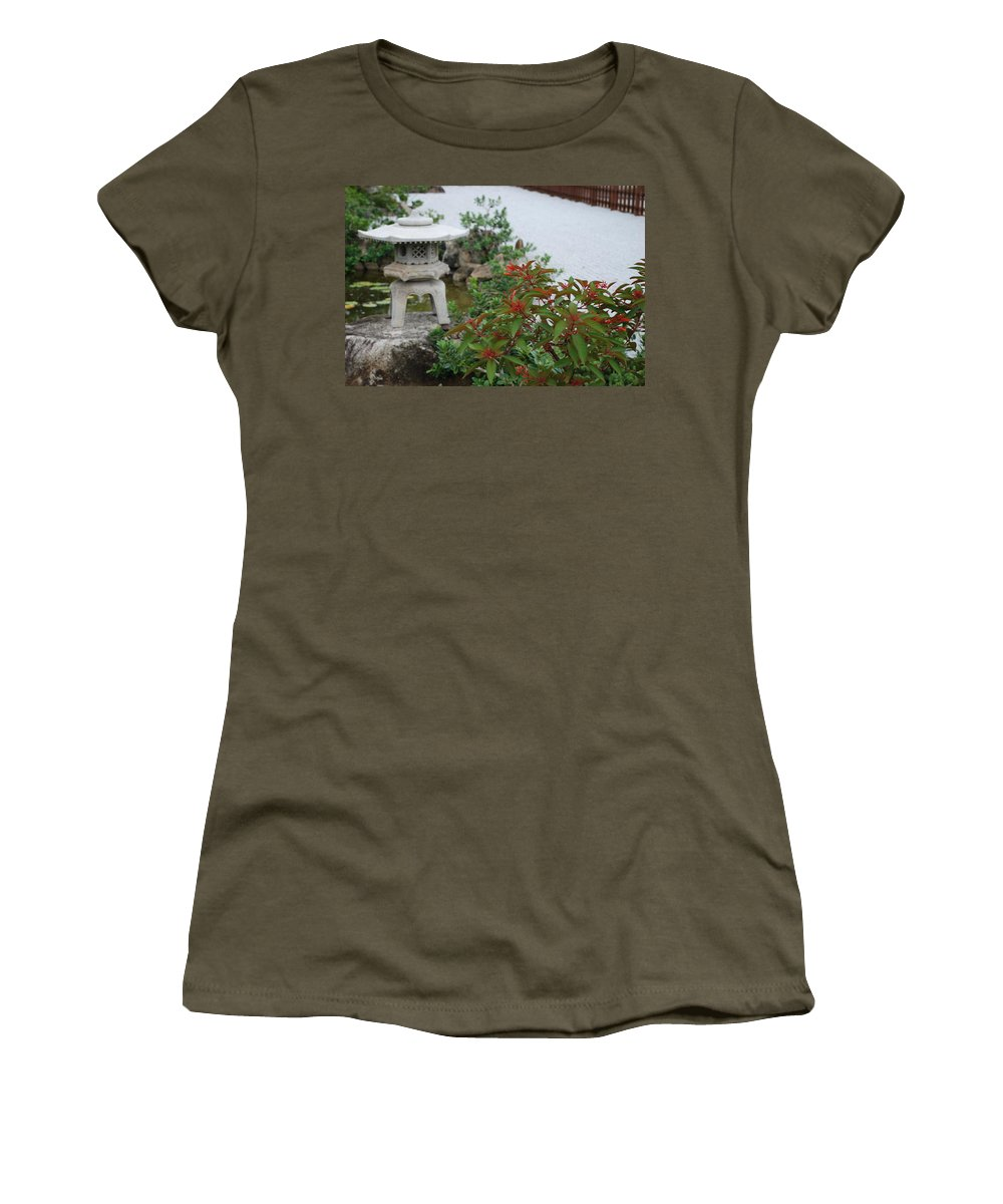Rocks Women's T-Shirt (Athletic Fit) featuring the photograph Japanese Garden Lantern by Rob Hans