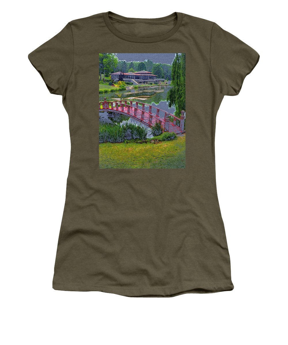 Digital Art Women's T-Shirt featuring the photograph Japanese Garden by Mindy Newman