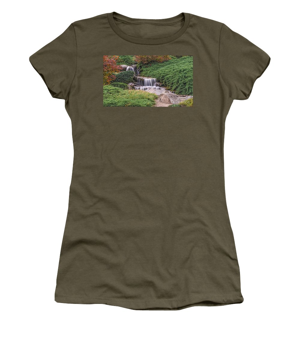 Australia Women's T-Shirt featuring the photograph Japanese Gardens Waterfall by Helen Woodford