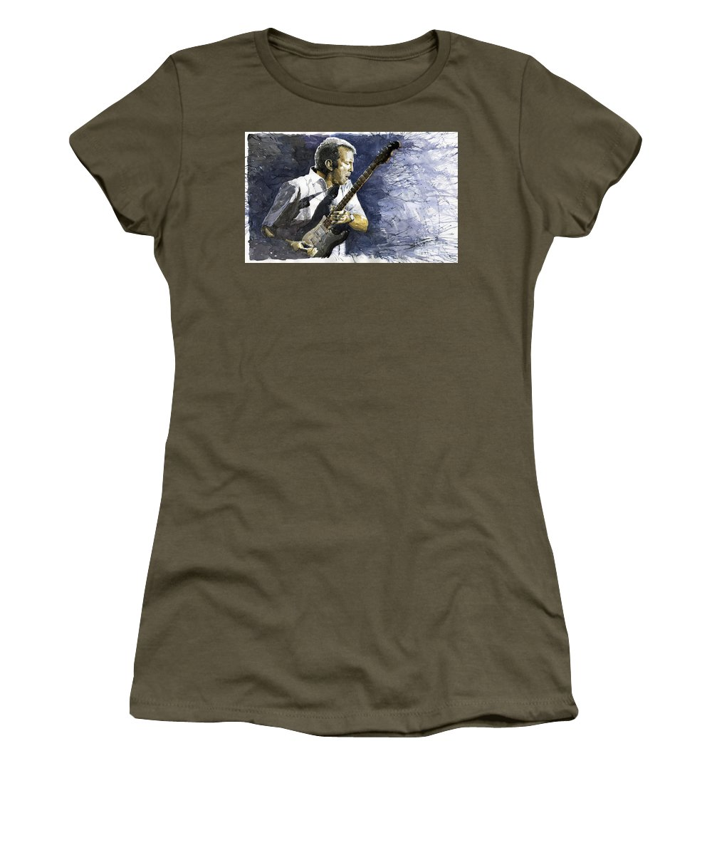 Eric Clapton Women's T-Shirt featuring the painting Jazz Eric Clapton 1 by Yuriy Shevchuk