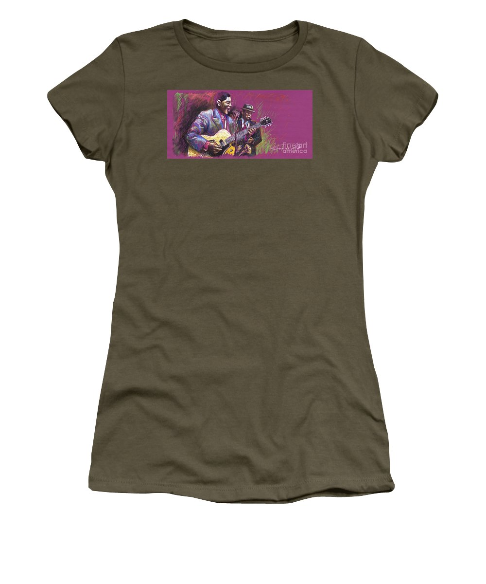 Jazz Women's T-Shirt (Athletic Fit) featuring the painting Jazz Guitarist Duet by Yuriy Shevchuk