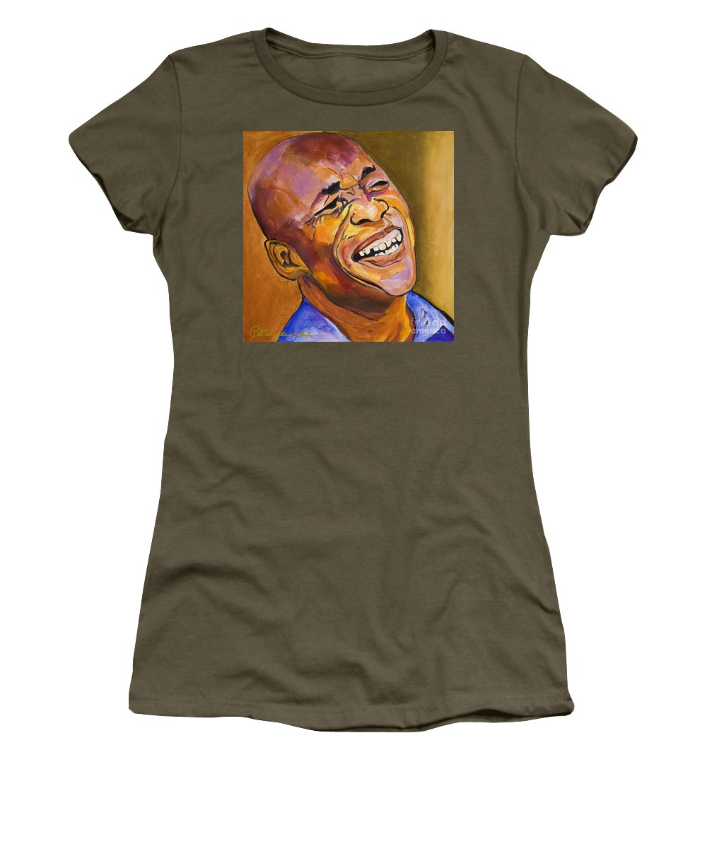 Portraits Women's T-Shirt (Athletic Fit) featuring the painting Jazz Man by Pat Saunders-White