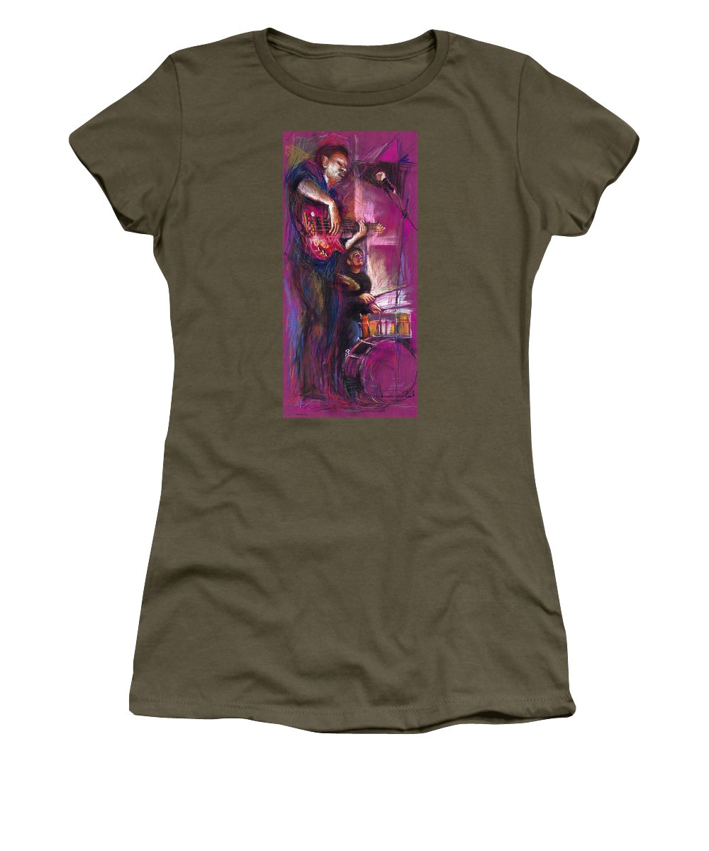 Jazz Women's T-Shirt featuring the painting Jazz Purple Duet by Yuriy Shevchuk