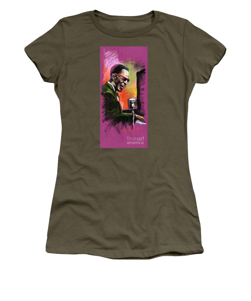 Women's T-Shirt (Athletic Fit) featuring the painting Jazz. Ray Charles.2. by Yuriy Shevchuk