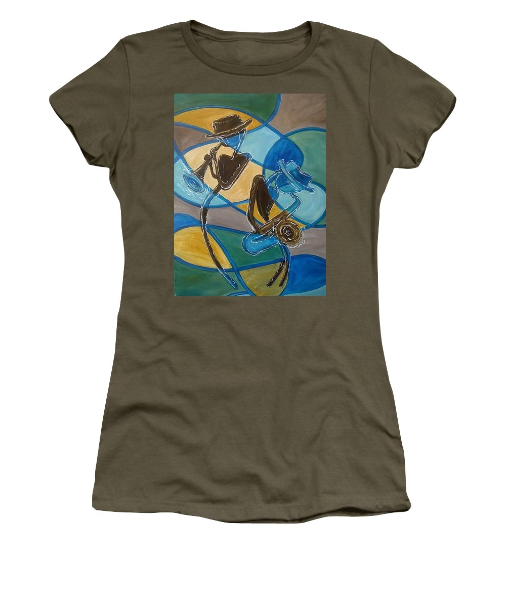 Jazz Women's T-Shirt (Athletic Fit) featuring the painting Jazz Raz by Regina Walsh