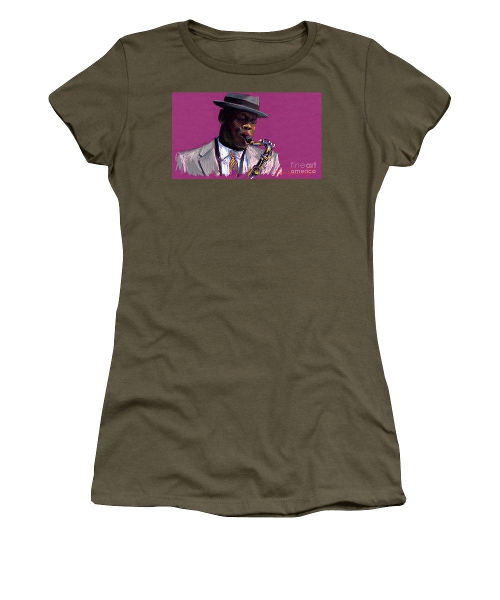 Jazz Women's T-Shirt featuring the painting Jazz Saxophonist by Yuriy Shevchuk