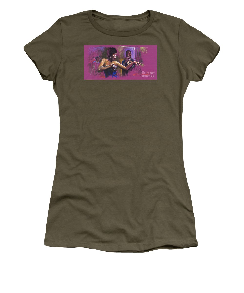 Jazz Women's T-Shirt (Athletic Fit) featuring the painting Jazz Song.2. by Yuriy Shevchuk