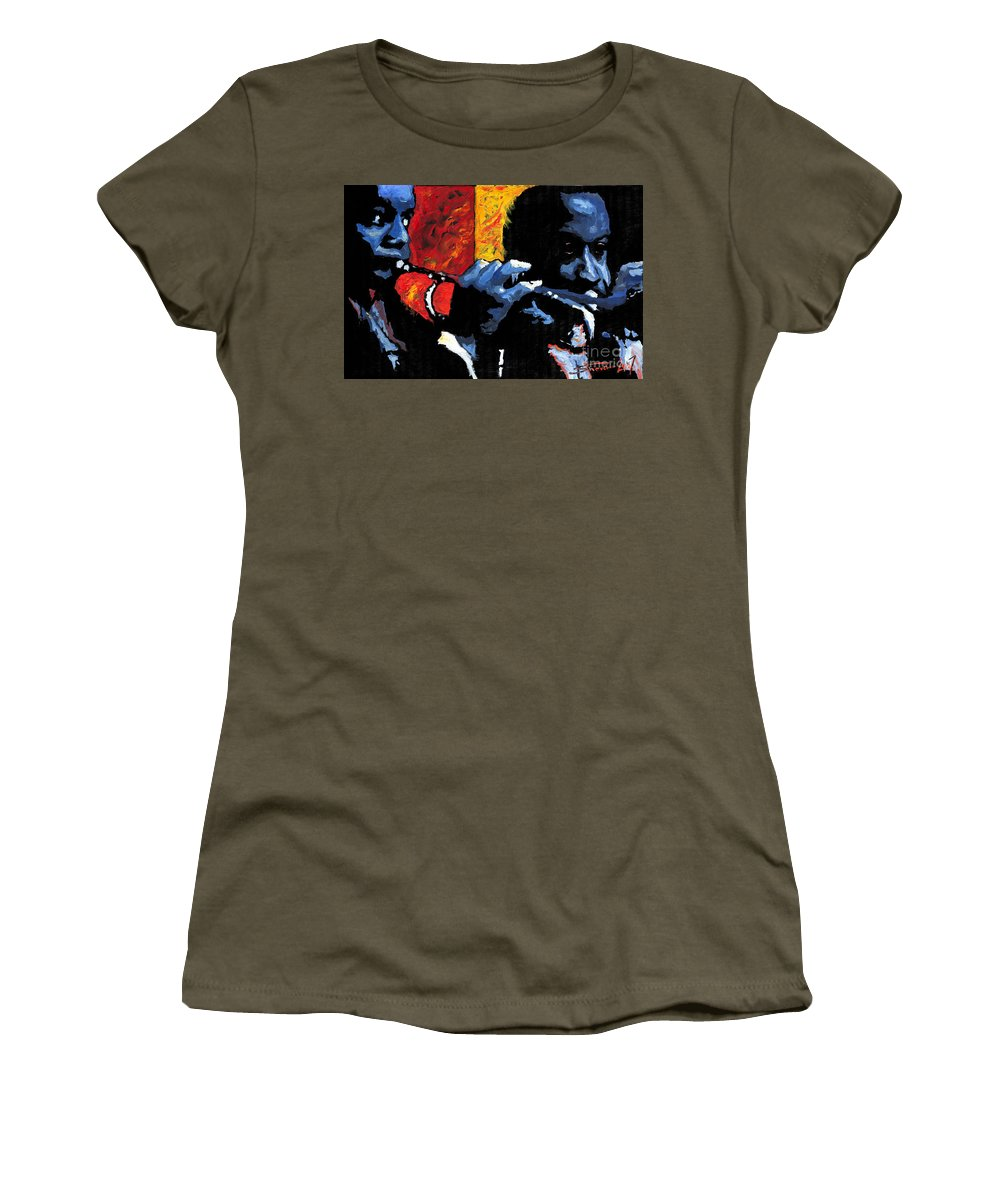 Jazz Women's T-Shirt (Athletic Fit) featuring the painting Jazz Trumpeters by Yuriy Shevchuk