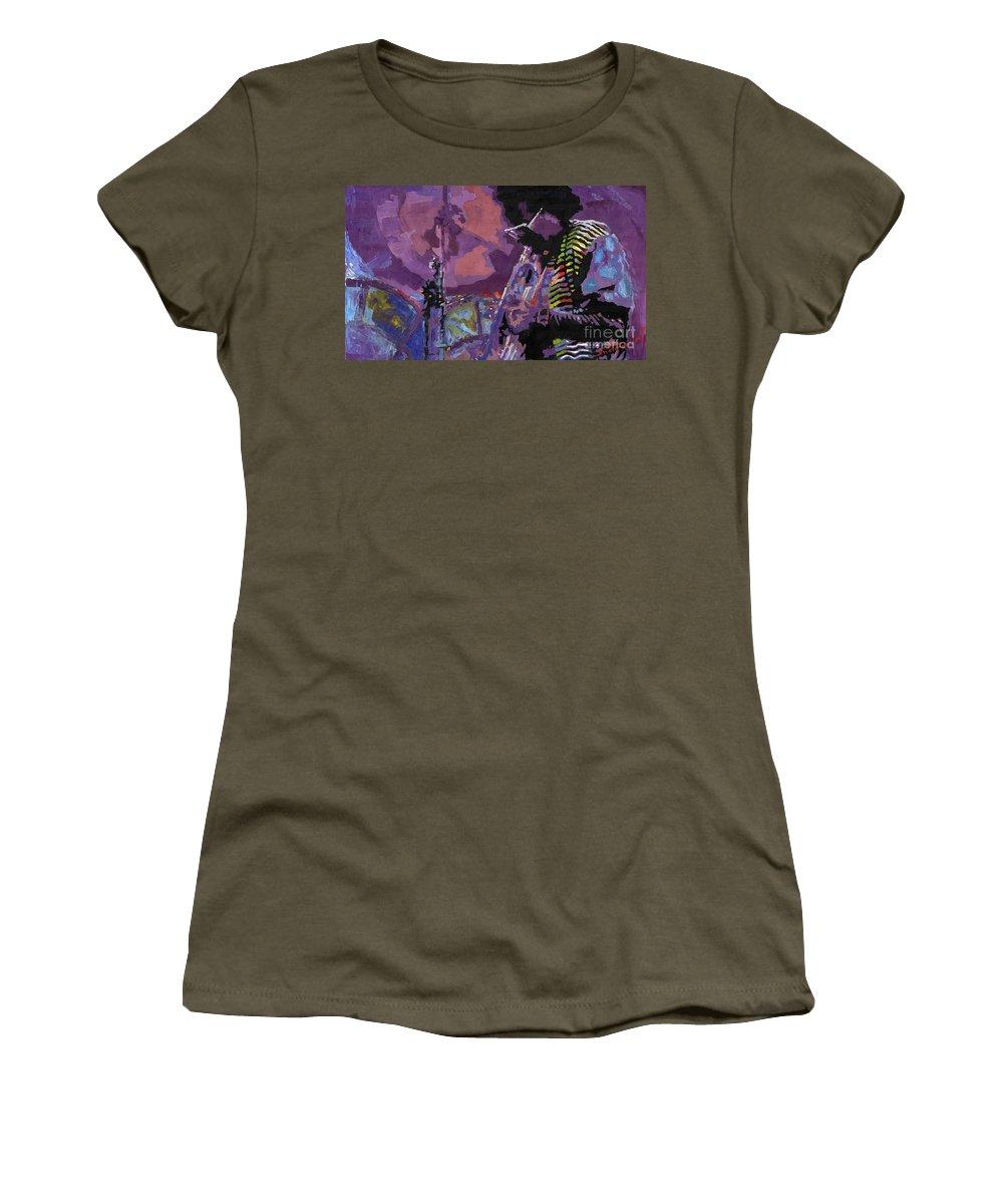 Jazz Women's T-Shirt (Athletic Fit) featuring the painting Jazz.miles Davis.4. by Yuriy Shevchuk