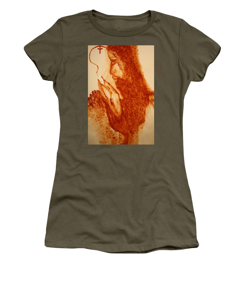 Jesus Women's T-Shirt (Athletic Fit) featuring the painting Jesus - The Good Shepherd by Gloria Ssali