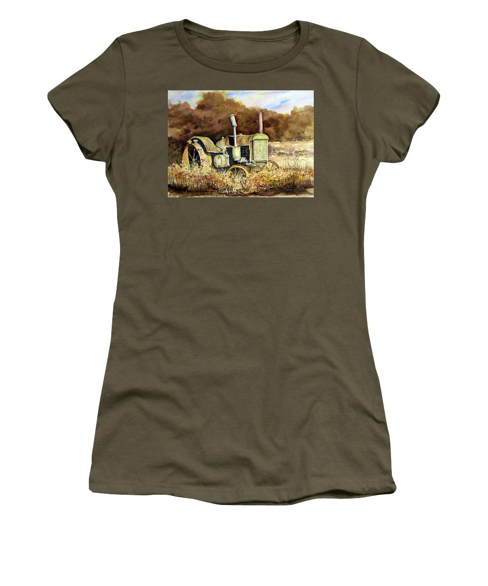 Tractor Women's T-Shirt featuring the painting Johnny Popper by Sam Sidders