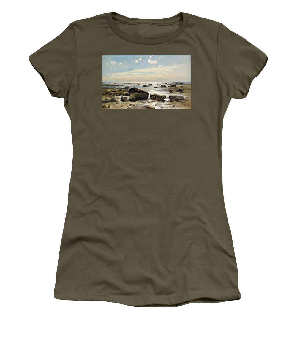 Julius Sergius Von Klever Russia Seascape Women's T-Shirt (Athletic Fit) featuring the painting Julius Sergius Von Klever by MotionAge Designs
