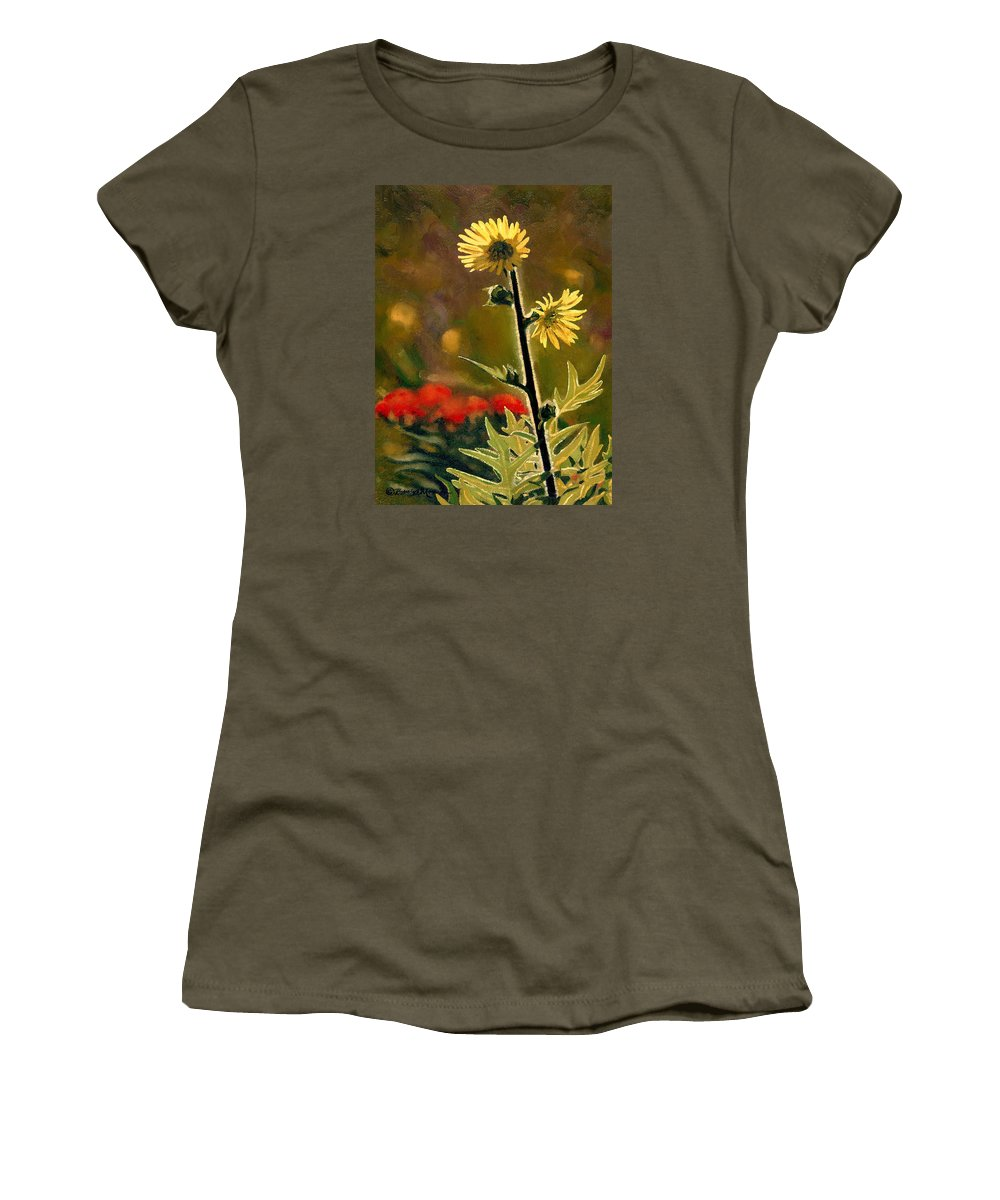 Prairie Flowers Women's T-Shirt (Athletic Fit) featuring the painting July Afternoon-compass Plant by Bruce Morrison
